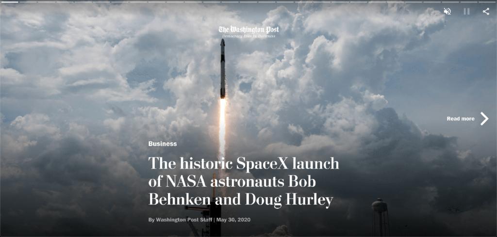 Washington Post bruger Web Stories på deres website.