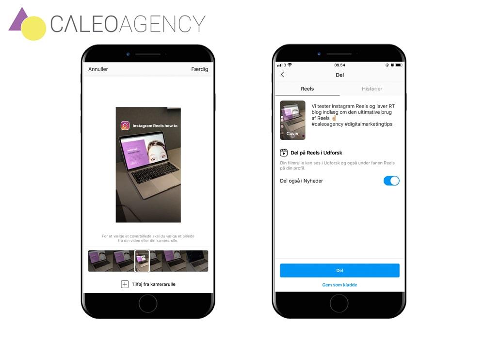 Sådan laver du coverbillede, tekst og hashtags på din Instagram Reels